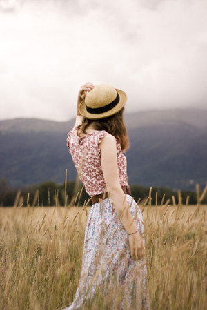 light yellow straw Urban Outfitters hat - light purple thrifted skirt - brown th