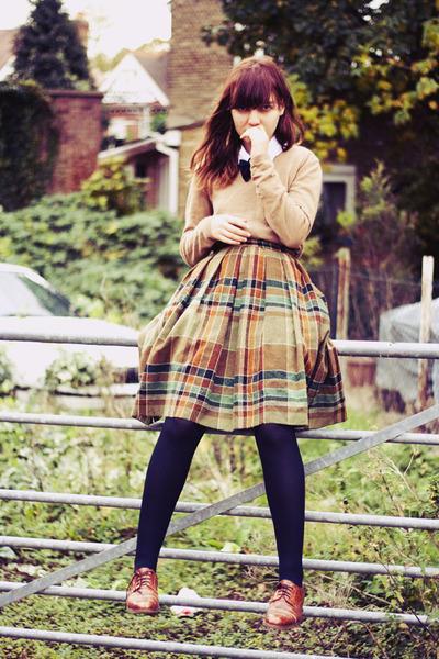 dark khaki wool vintage skirt - camel thrifted sweater