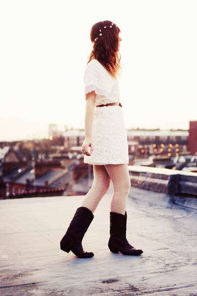 ivory crochet Sugar Lips dress - dark brown thrifted vintage boots