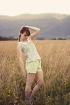 sky blue scallop hem handmade top - lime green old shorts
