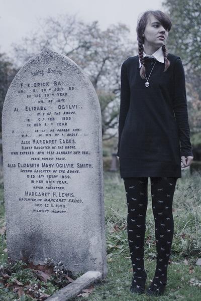 black thrifted uniqlo dress - black pony print H&M Kids tights