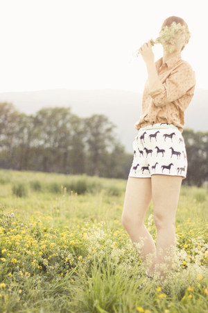 white pony print handmade shorts - light orange floral thrifted shirt