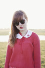 Red-polka-dot-thrifted-dress-red-old-sweater-white-old-tights