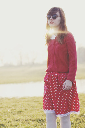 red polka dot thrifted dress - red old sweater - white old tights