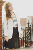 off white thifted blazer - camel Urban Outfitters hat - navy handmade skirt