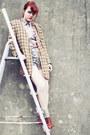 Beige-thrifted-shirt-brown-sonia-rykiel-blazer