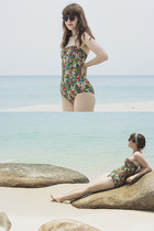 olive green ruffled Urban Outfitters swimwear