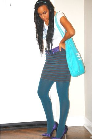 t-shirt - skirt - Urban Outfitters tights - belt - shoes - purse