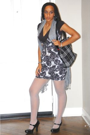 shirt - Urban Outfitters dress - stockings - Lane Bryant scarf - Bakers shoes -