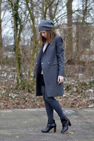 charcoal gray long coat French ConnectionN coat - black Zara boots
