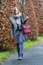 brick red burgundy suede asos bag - black leather ankle Zara boots