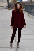 burgundy Zara cardigan - suede asos boots - skinny Topshop pants