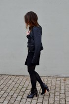 black ankle boots Zara boots - black leather jacket Vero Moda Jeans jacket
