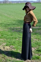 Zara hat - black maxi hm skirt - camel silk Mango blouse