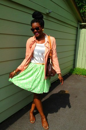 lime green Old Navy skirt - light pink Forever21 blazer - tawny lulus bag