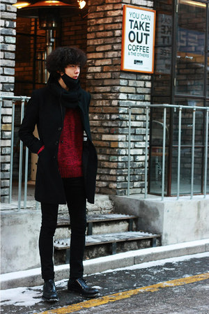 black Prada shoes - brick red H&M sweater