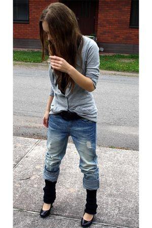black H&M top - silver H&M cardigan - blue Vero Moda jeans