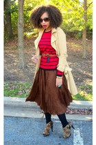 dark brown Limited skirt - brown Qupid shoes - ruby red Secondhand top - tan tre