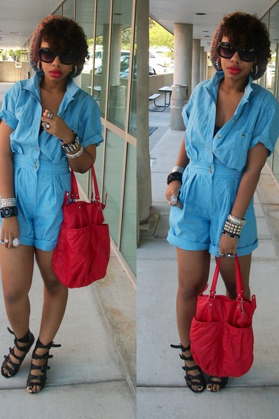 blue vintage shorts - red H & M - black Forever 21 shoes - orange Vinatge hat