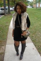 Ebay vest - BCBG dress - vintage purse - gifted boots