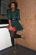 green vintage dress - beige f21 shoes