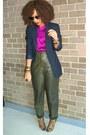 Navy-boyfriend-style-revolver-blazer-dark-green-trousers-vintage-pants-magen