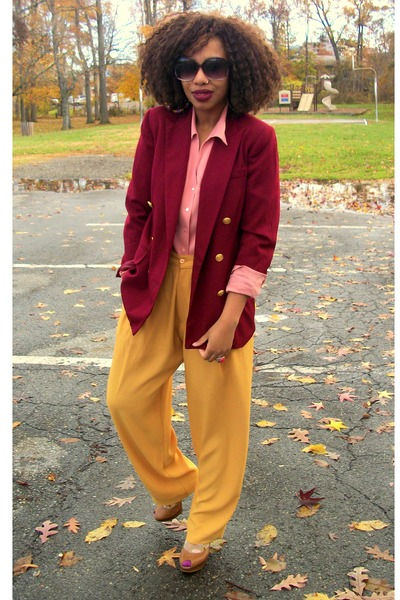 mustard Secondhand - salmon Secondhand shirt - maroon talbots blazer - brown Jes