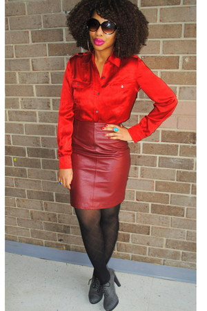 ruby red silk talbots shirt - brick red leather vintage skirt