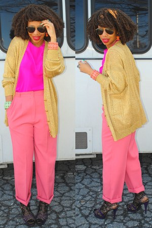 bubble gum trousers vintage pants - hot pink silk vintage blouse - bronze granpa