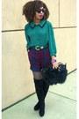 Green-secondhand-shirt-navy-secnodhand-shorts-black-faux-fur-bag-black-otk