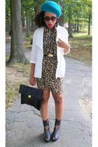 brown H & M scarf - blue H & M hat - white vintage shirt - black vintage purse
