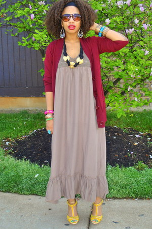 tan maxi Flowy dress