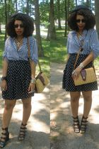 black Forever 21 shoes - black Gap skirt - Secondhand shirt - brown purse
