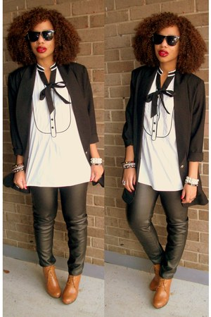 black Style Revolver pants - tawny Bonnibel boots - white H & M shirt