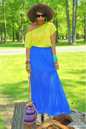 blue sheer DIY skirt - lime green old t-shirt