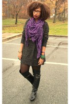 charcoal gray H & M dress - black OTK boots - deep purple H & M scarf - black