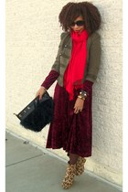maroon Secondhand dress - camel cheetah boots
