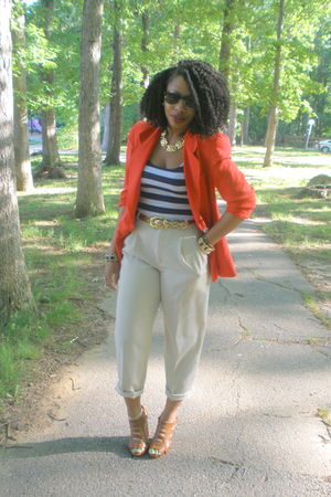 red Anne Klein blazer - H & M - tempted top - UrbanOG shoes