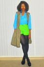Chartreuse-high-waist-vintage-shorts-turquoise-blue-sheer-vintage-blouse
