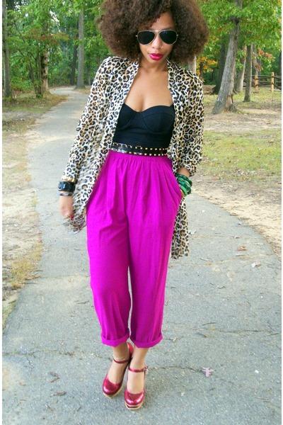 brown worn as jacket H & M shirt - red heels Pink Duchess shoes