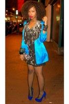 turquoise blue satin Limited blazer - blue studded heel Cobalt shoes