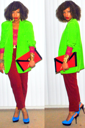 chartreuse boyfriend vintag blazer - crimson high waist vintage pants