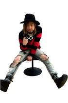 black Dr Martens boots - black H&M hat - red Givenchy sweatshirt