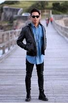 black black leather Dr Martens boots - black black denim Nudies jeans