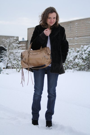 blue Acne Jeans jeans - white acne shirt - black H&M coat - brown balenciaga pur