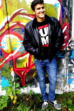 leather jacket vintage jacket - denim H&ampM jeans - run dmc Primark sweater