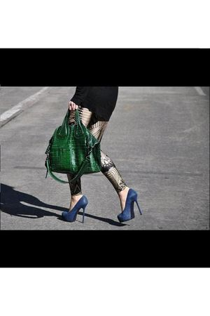 black dress - black leggings - green purse - blue shoes