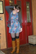 Ebay boots - f21 dress - f21 tights - Chinese Laundry socks
