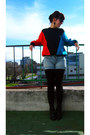 Black-combat-boots-cotton-sweater-black-tights-light-blue-denim-shorts