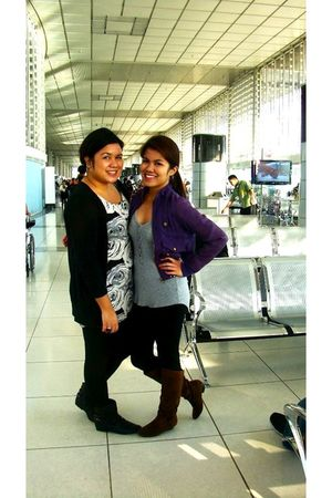 silver Zara blouse - purple thrift jacket - black Topshop leggings - brown Centr